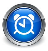 Alarm icon glossy blue button — Stock Photo