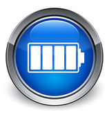 Battery icon glossy blue button — Stock Photo