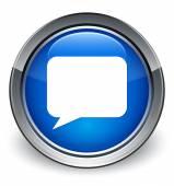 Talk bubble icon glossy blue button — 图库照片