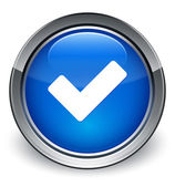 Validate icon glossy blue button — Stock Photo