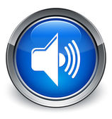 Volume icon glossy blue button — 图库照片