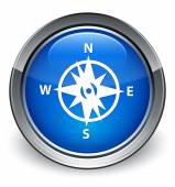 Compass icon glossy blue button — Stock Photo