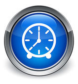 Clock icon glossy blue button — Fotografia Stock