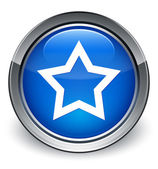 Favorite star icon glossy blue button — 图库照片