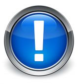 Exclamation mark icon glossy blue button — 图库照片