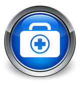First aid kit (medical bag) icon glossy blue button — 图库照片