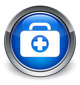 First aid kit (medical bag) icon glossy blue button — Stock Photo