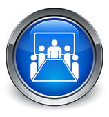 Meeting room icon glossy blue button — 图库照片
