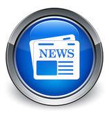 Newspaper icon glossy blue button — 图库照片