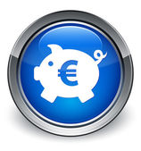 Piggy bank (euro sign) icon glossy blue button — 图库照片