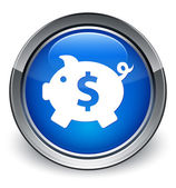 Piggy bank (dollar sign) icon glossy blue button — 图库照片