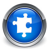 Puzzle icon glossy blue button — 图库照片
