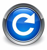 Reply rotate icon glossy blue button — Stock Photo