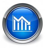 Statistics down icon glossy blue button — 图库照片