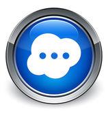 Comment (brain bubble) icon glossy blue button — Stock Photo