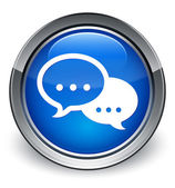 Comment (talk bubble) icon glossy blue button — Stock Photo