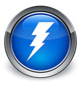 Electricity icon glossy blue button — 图库照片