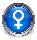 Female icon glossy blue button — 图库照片