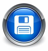 Floppy disk icon glossy blue button — 图库照片