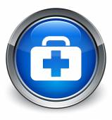 Medical bag (first aid kit) icon glossy blue button — 图库照片