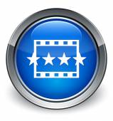 Movie review icon glossy blue button — 图库照片