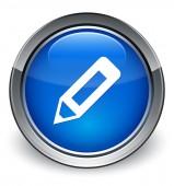 Pencil icon glossy blue button — Stock Photo