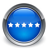 Review (5 star) icon glossy blue button — Stock Photo