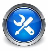 Settings icon glossy blue button — 图库照片