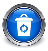 Trash can (recycle) icon glossy blue button — Stock Photo