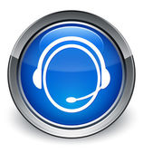 Customer care icon glossy blue button — 图库照片