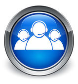 Customer care team icon glossy blue button — 图库照片