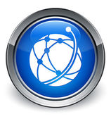 Global network icon glossy blue button — Stock Photo