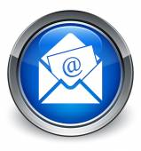 Newsletter icon glossy blue button — 图库照片