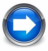 Next arrow icon glossy blue button — Foto Stock
