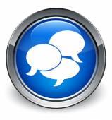 Testimonials icon glossy blue button — 图库照片