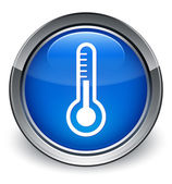 Thermometer icon glossy blue button — 图库照片