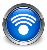 Wifi network icon glossy blue button — Stock Photo