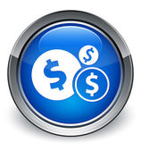 Finance (dollar sign) icon glossy blue button — 图库照片