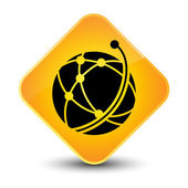 Global network icon yellow button — Stock Photo