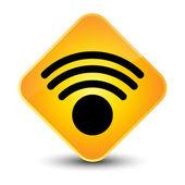 Bezdrátové sítě ikonu žluté tlačítko — Stock fotografie