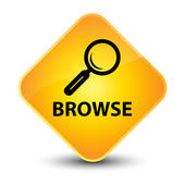 Browse (magnifying glass icon) yellow button — Stock Photo