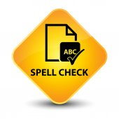 Spell check yellow button — Stock Photo