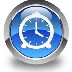 Alarm clock icon glossy blue round button — Stock Photo #72112745