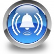 Alarm icon glossy blue round button — Stock Photo #72113455