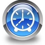 Clock icon glossy blue round button — Stock Photo #72114621