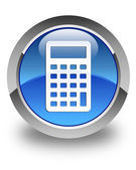 Calculator icon glossy blue round button — Stock Photo