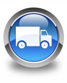 Delivery truck icon glossy blue round button — Stock Photo
