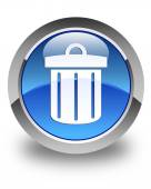 Recycle bin icon glossy blue round button — Stock Photo