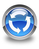 Refresh icon glossy blue round button — Stock Photo