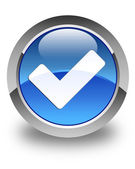 Validate icon glossy blue round button — Stock Photo